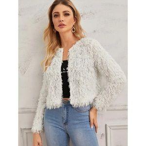 Fuzzy faux fur coat ivory white teddy jacket
